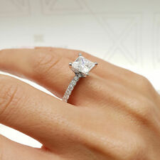 3.1 Carat Princess Cut F - VS2 Side Stone Diamond GIA Engagement Ring sizeable