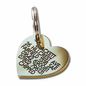 Deeply engraved solid brass dog tag, heart shaped 30mm