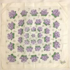 "Purple 13"" Floral Pansey Vintage Burmel  Handkerchief Hanky"