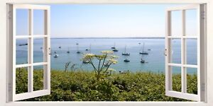Cornwall Boats on Sea Cliff Top 3D Effect Window Canvas Picture Wall Art Prints