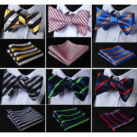 HISDERN Striped Men Woven Silk Wedding Self Bow Tie Handkerchief Set#RS1
