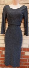 PRIMARK SILVER BLACK GLITTER SPARKLY BODYCON TUBE PENCIL PARTY EVENING DRESS 6