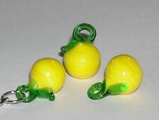 1pc tiny Miniature Lemon Glass Fruit Lampwork pendant yellow charm bead 15x21mm
