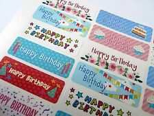 Coloré happy birthday greeting autocollants, étiquettes pour cartes et cadeaux HBW-4715-3