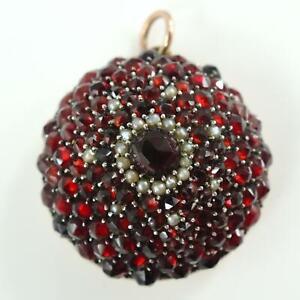 Vintage Victorian Bohemian Garnet & Seed Pearl Pendant
