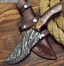 LOUIS MARTIN RARE FIXED BLADE CUSTOM HANDMADE DAMASCUS ART HUNTING TRACKER KNIFE