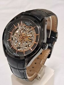 Rotary GS03630/04 men's automatic skeleton watch with leather strap.