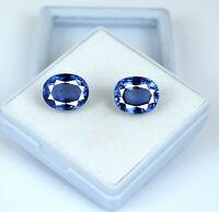 Ceylon Blue Sapphire Natural Oval Gemstone Pair 14-16 Carat/11mm AGSL Certified
