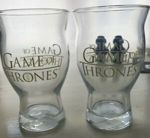 Game Of Thrones Pint Clear Beer Glasses with Gold Lettering HBO - Set / Lot of 2