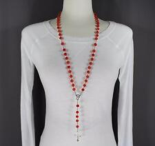 "Red Orange faux jade look bead beaded rosary silver cross 32"" long necklace"