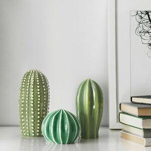 NEW IKEA  SJÄLSLIGT Cactus Decoration Ceramic Green Faux Plant Set of 3