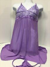 Ladies sheer purple Babydoll Lingerie nightie