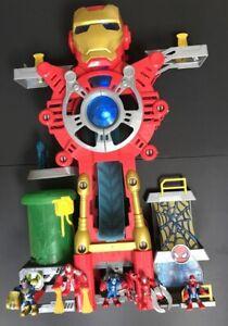 Iron Man Headquarters Playset Marvel Super Hero Thanos Figures Lights Playskool