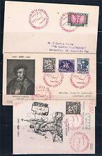 España. Dos sobres y una tarjeta circulados con matasello especial