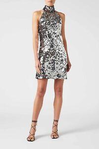 GALVAN LONDON  Gemma sequin silver halterneck mini dress Size 8 New+tag