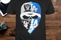 Skull mask oakland raiders and los angeles dodgers Short SLeeve Cotton F704