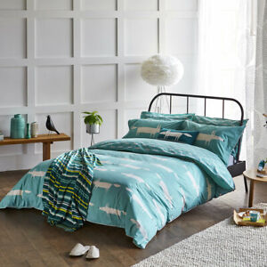 Scion Mr Fox Bedding Duvet Cover Teal Bedding 100% Cotton 180 Thread Count