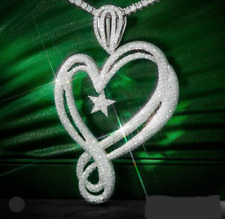 2.5 Inch Long Heart With Small Star 925 Sterling Silver Customized CZ Pendant