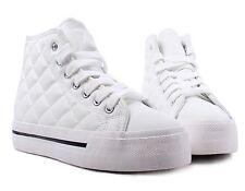 White Lace Up Ladies Platform Heels Flatform Womens Slip On Sneakers Shoes