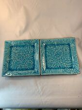 "Roscher Square Dinner Plate Turquoise Teal Blue Leaves RRRM14 10 5/8"" stoneware"