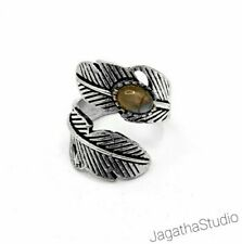 Silver Feather Boho Ring Gemstones Adjustable Double Labradorite Gemstone