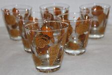 6 Culver Low Ball Tumbler Gold SeaShell Drinking Glasses Mid Century VTG 50s/60s