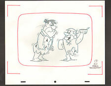 "Flintstones Animation Art - ""Rock Rockstone"" Angry Fred + Dancing Barney #9 Sc 7"