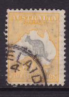 AUSTRALIA KANGAROO 5/- Grey & Yellow CofA Wmk USED SG 135 (LB134B)
