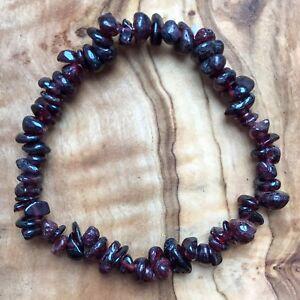 """Garnet Gem Chip Bead Crystal Bracelet 7"""" Grounding Base Root Chakra Reiki"""