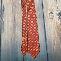 Bvlgari 7 Fold 100% Silk Neck Tie Red Gold Grid Signed Davide Pizzigoni  ITALY