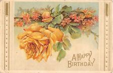 1911 Glossy Birthday Postcard of a Beautiful Yellow Rose - Serie 6000