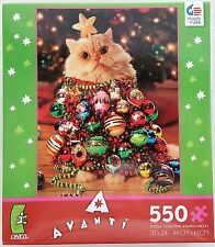 CEACO® 550pc AVANTI • CAT CHRISTMAS TREE  • PUZZLE Jig Saw USA MADE