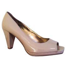 Rampage Women's Tan Beige Peep Toe Heels Pumps Sandals Shoes Size 6.5 Very Good!