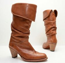 FRYE Boots Vintage Dorado Slouch Cuffed Brown Leather 77580 Heeled Foldover sz 6