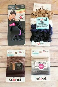 LOT of 4 Scunci Elastic Ponytail Hair Ties No Damage Jaw Clip Scrunchie NEW