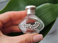Fine Vintage Art Deco Glass Sterling Silver 925 Flask Flacon Perfume Bottle 15ml
