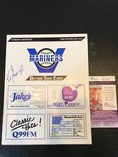 RARE 1988 Ken Griffey Jr Pre Rookie Signed Vermont Mariners Program JSA COA