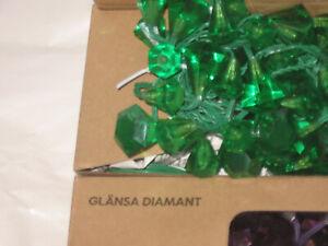 IKEA Glansa Diamant GLÄNSA 48 Diamonds STRING LIGHTS Green LED Xmas Fairy Strala