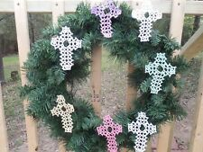*Tatted Cross (7) Bookmarks Lace for Wreaths or Bible Gift Dove Country Tatting
