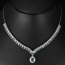 Sterling Silver 925 Genuine Natural Blue Topaz Gem Necklace 17.25- 18.75 Inch