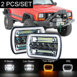Pair 210W 5x7'' 7x6'' LED Headlight Hi-Lo Beam DRL For Jeep Cherokee XJ YJ