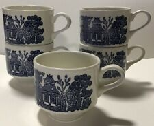 Vintage Lot of 5 stackable mugs cups - Blue Willow - Churchill England