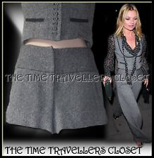 Kate Moss Topshop Grey Wool Tweed Thick Lined Shorts Hotpants Turn-ups UK 6 8