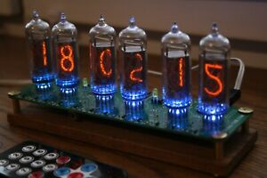 Nixie tube clock || with IN-14 tubes and oak stand || Remote Temperature Date