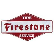 Red & White FIRESTONE Tire Service TIN SIGN EMBOSSED VINTAGE LOOK.AUTO SHOP