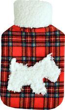 Fleece Applique Cosy Fleece 2L Hot Water Bottle: Red Tartan Scottie Dog