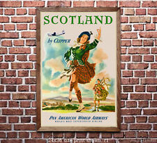 Pan Am Scotland Vintage Airline Travel Poster/Print [6 sizes matte+glossy avail]