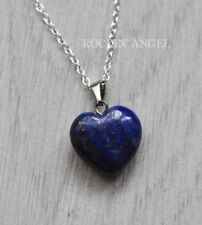 925 Silver Necklace & 16mm Lapis Lazuli Heart Pendant Reiki Healing Ladies Gift
