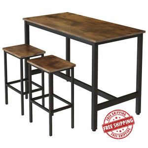 Industrial Bar Table and Stools Set Tall Rustic Kitchen Vintage Breakfast Dining