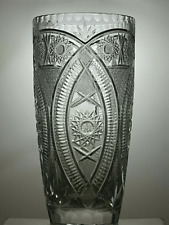 More details for large american brilliant period crystal heavy cut glass vase 10 3/4